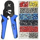 Ferrule Crimping Tool Kit - Sopoby Ferrule Crimper Plier w/ 1200pcs Wire Ferrules Wire Ends Terminals AWG 28-7 (0.08-10mm²)