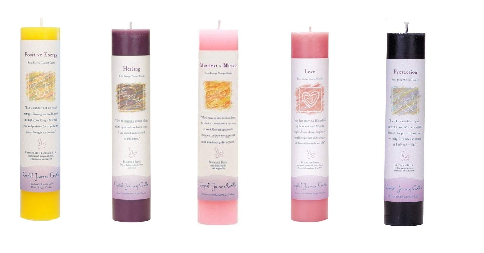 Crystal Journey Reiki Charged Herbal Magic Pillar Candle with Inspirational Labels - 5 Pack (Manifest a Miracle, Healing, Positive Energy, Love, Protection), Each 7''x1.5'' Handcrafted, Lead-Free