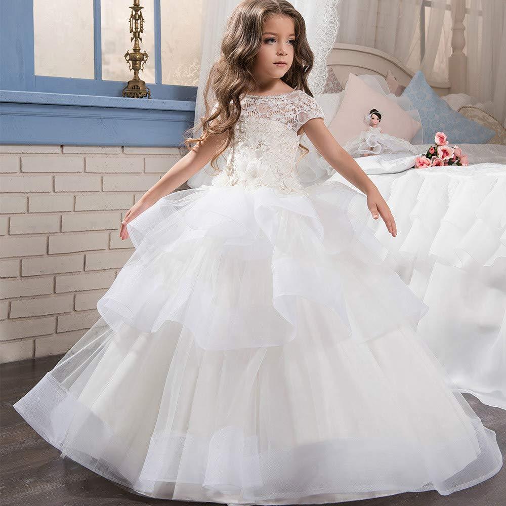 Melodycp Vestido de Novia para niños Vestido de Novia de Encaje para niñas Pétalos de Manga Corta Falda mullida Vestido de Novia para niñas Flor Ropa para ...
