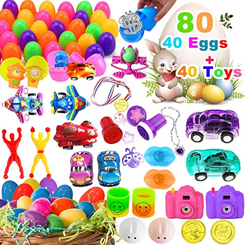Ereon 40 Jumbo Filled Easter Eggs 40 Novelty Toys, Easter Basket Stuffers Plastic Easter Eggs Prefilled Toy Inside with Necklace Fidget Toy - Easter Decorations Party Favor Bag for Kids - 80 Pack ()