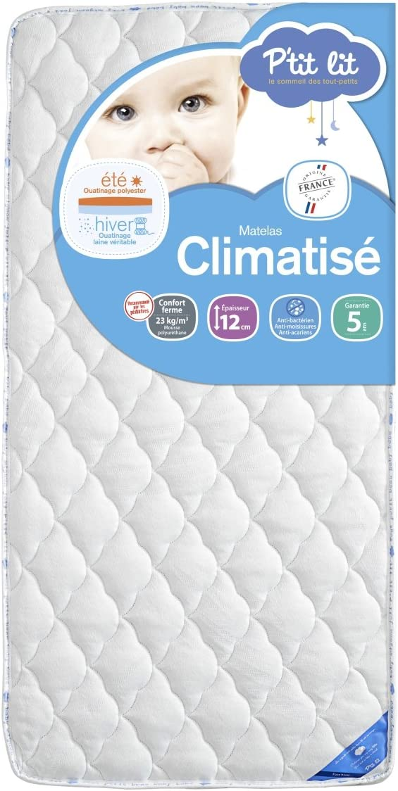 Ptit Lit Et/é Hiver Matelas b/éb/é Climatis/é Fabrication fran/çaise Anti-acariens 70 x 140 x 12 cm Premium