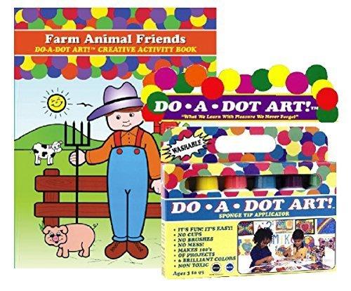 Do A Dot Art Marker Rainbow 6-pack Activity Book Gift Set - Farm Animal Friends by DOTART