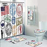 Philip-home 5 Piece Banded Shower Curtain Set Stamps with United States America Decorate The Bath