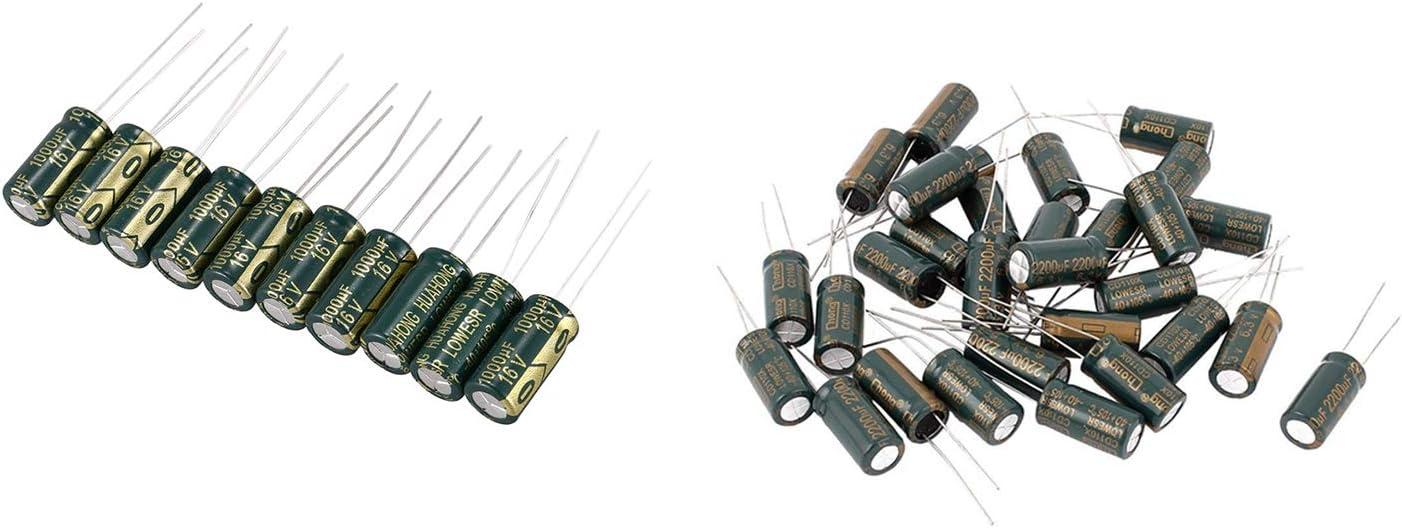 10 Pcs 1000UF 16V Polarized Leaded Aluminum /& 30 Pcs Radial Lead 105C 2200UF 6.3V 10 X 20Mm SNOWINSPRING 40 Pcs Electrolytic Capacitors