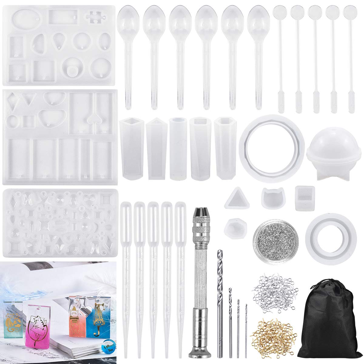 Dokpav 86PCS Silicone Resin Moulds for Jewellery Making, Jewelry Casting Molds, Epoxy Resin Moulds, Jewelry Pendant Moulds, Resin DIY Craft Stencils for Pendant Bracelet Key Chain Handmade Craft