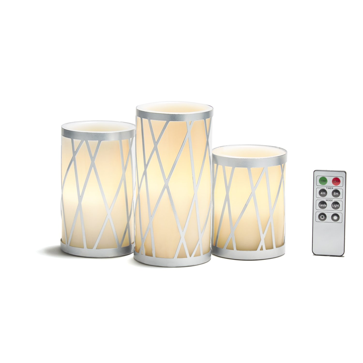 White Flameless Pillar Candles, Silver Metal Removable Holders, Real Wax, Set of 3, Warm White LEDs, Remote & Batteries Included - Great for Gifts, Weddings and Home Decor