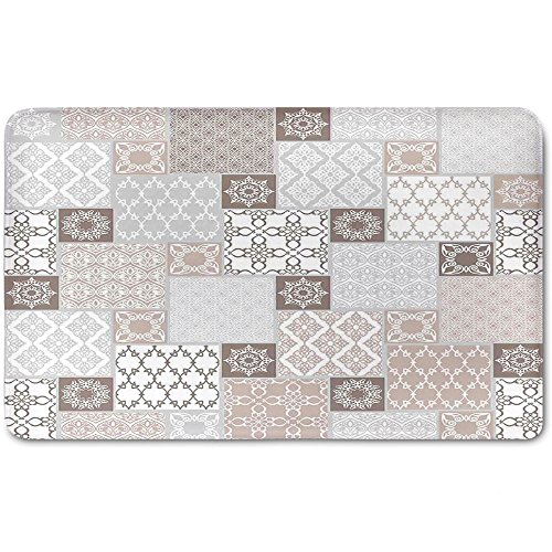 Patchwork Mat Pastel - Memory Foam Bath Mat,Arabian Decor,Oriental Motif Pastel Patchwork Pattern with Filigree Ornaments Illustration ArtPlush Wanderlust Bathroom Decor Mat Rug Carpet with Anti-Slip Backing,White Beige Gr