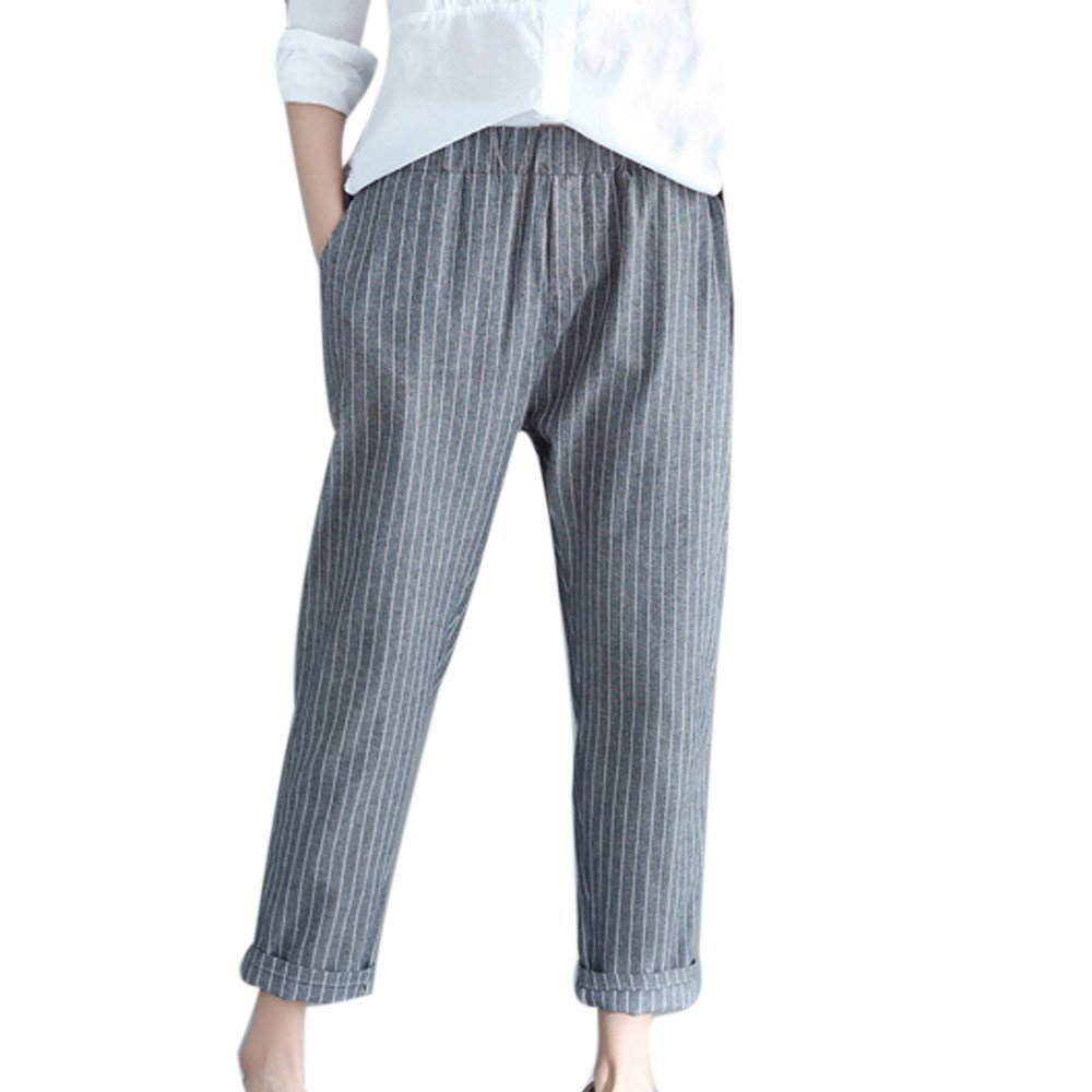 Clearance Sale! Women Pants,Farjing Woman Fashion Linen Striped Harem Pants Loose Striped Full Pants Casual Pants (XL,Gray )