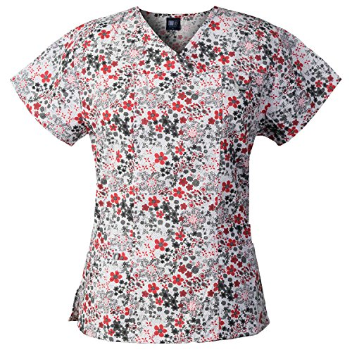 Medgear Women's Printed Scrub Top, ID Loop & 4 Pockets Medical Uniform FDRW
