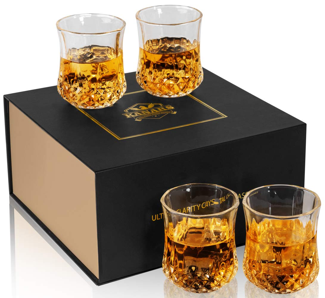 KANARS Small Whiskey Glasses With Unique Elegant Gift Box for Scotch, Bourbon Or Old Fashion Cocktail (7 Oz, Set of 4)