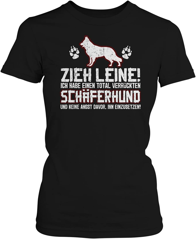 Schäferhund Zieh Leine Damen Kapuzen Pullover Hoodie Spruch Rasse Hund Lustig