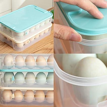 WISREMT Nevera Huevera Huevera Huevo Bandeja de huevos (Caja de 24 ...