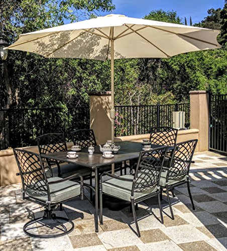 Joypanda Outdoor Patio 7 Pcs Heavy Duty Steel Metal Dining Set Home Patio And Furniture