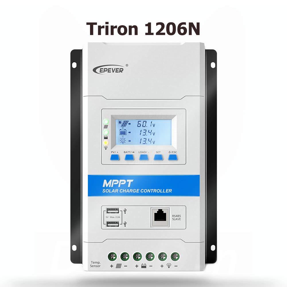 Tracer 1210AN EPEVER/® 10A MPPT Regolatore di Carica Solare 12V//24V Auto Identificazione con Display LCD e Porta USB per Stazioni Base di Comunicazione e Sistemi Domestici