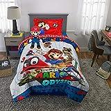 Nintendo Super Mario - Juego de Cama de Microfibra, sábanas y cojín de Peluche, tamaño Doble, 5 Piezas