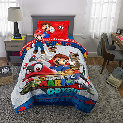 Nintendo Super Mario Soft Microfiber Comforter, Sheets and Plush Cuddle Pillow Bedding Set, Twin, Size 5 Piece Bundle