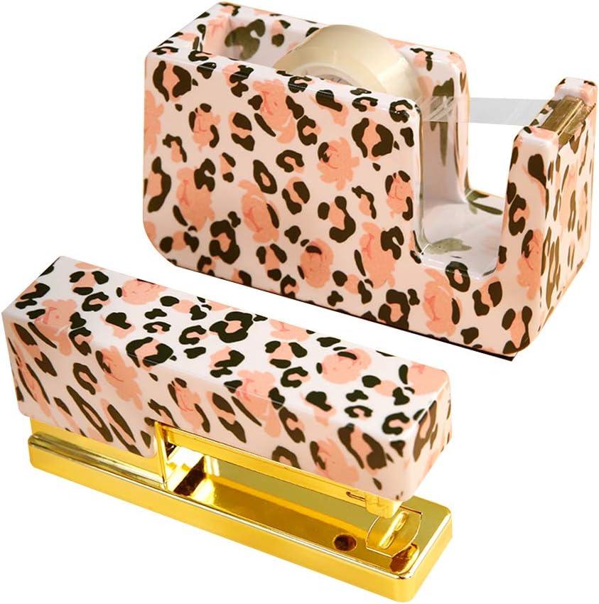 MultiBey Gold Metal Stapler Marble Cover Non-Slip Student Office Standard Stationery with Tape Dispenser (Rose Gold)