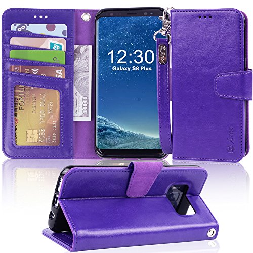 Galaxy s8 plus Case, Arae [Wrist Strap] Flip Folio [Kickstand Feature] PU leather wallet case with ID&Credit Card Pockets For Samsung Galaxy s8 plus(NOT for galaxy s8), (Purple)