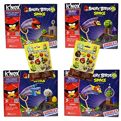 Power Brand 4 Different Angry Birds Knex Set with 2 Characters -
