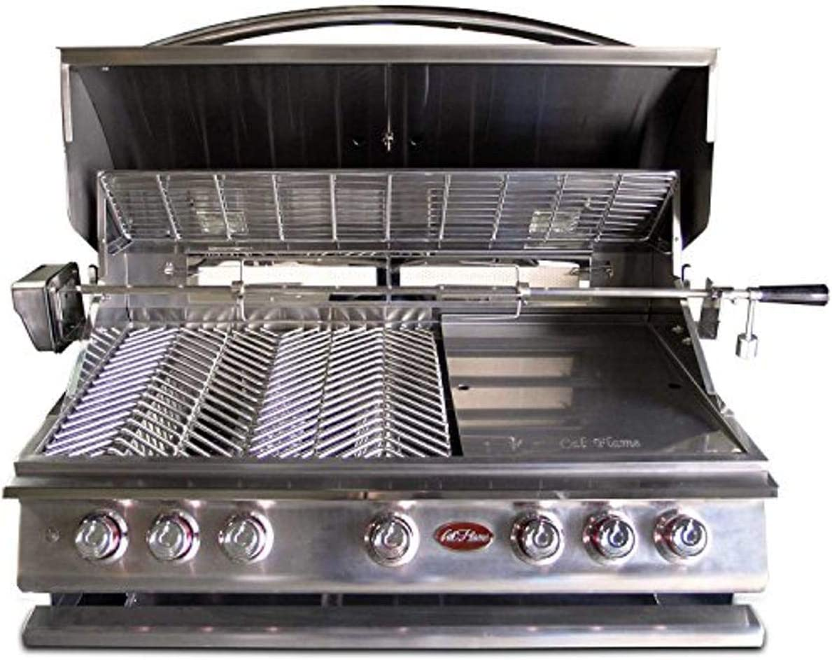 Cal Flame BBQ13P05 BUILT IN GRILL P5 5-BURNER LP,40-inch 304 Stainless Steel,Five 5 15,000 BTU cast Stainless Steel Burners, 93,000 BTU overall, 1,000 sq.in. cooking surface,Interior Lights,Rotisserie, Griddle,Smoke Box