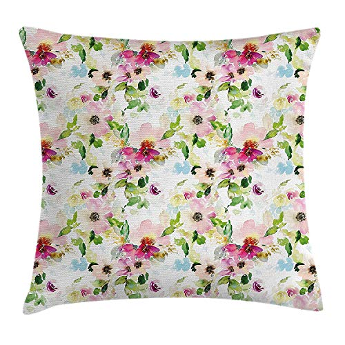 DDBACK Floral Throw Pillow Cushion Cover, Spring Season Flowers Leaves Pastel Watercolors Hand Painted Vintage Romantic, Decorative Square Accent Pillow Case, 18 X 18 Inches, Pink Purple ()