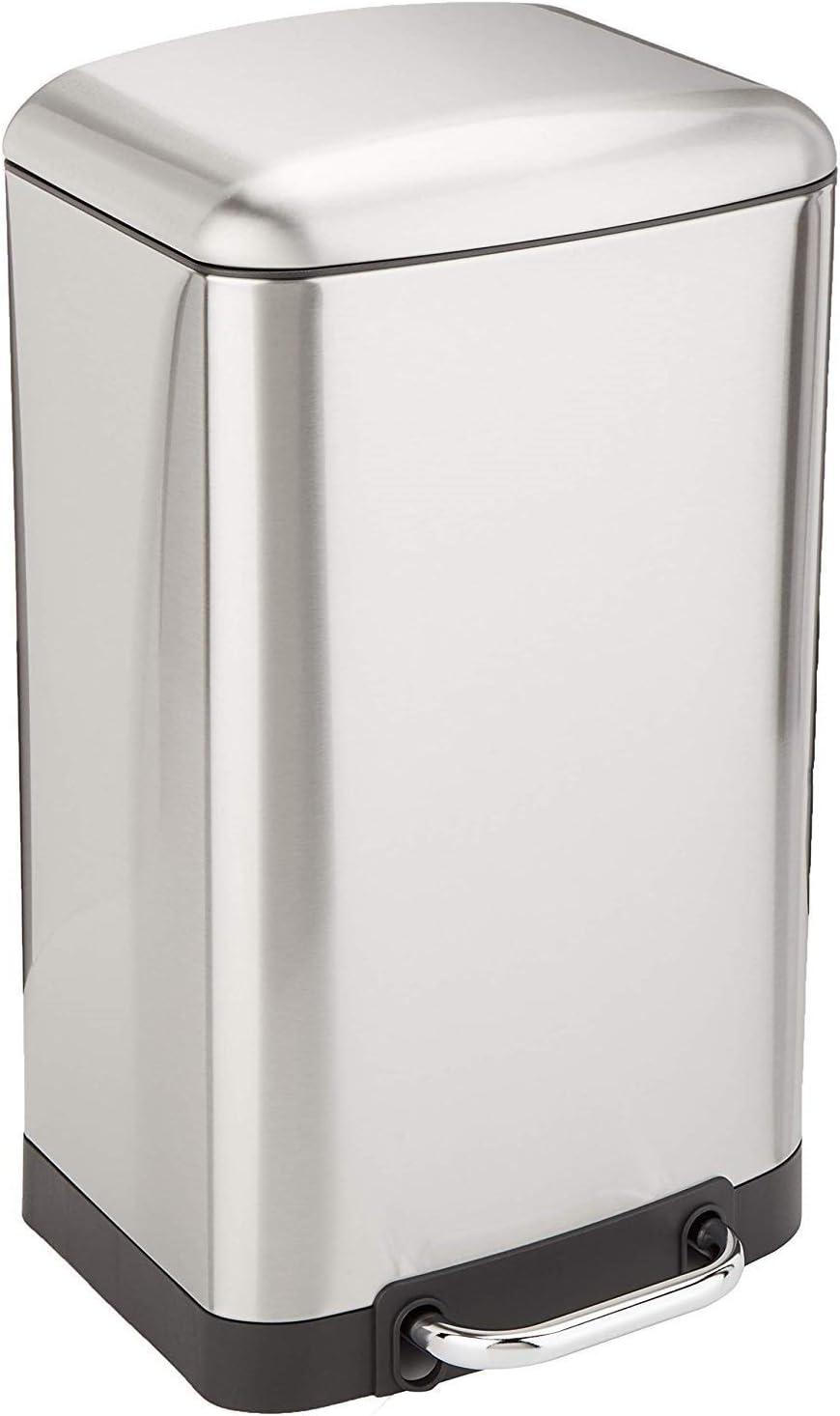 KITCHEN MOVE 905567E - Cubo de Basura de Cocina con Pedal Greenwich, Capacidad 30 L, 35 x 33 x 62 cm, Acero Inoxidable Cepillado, 35 x 33 x 62 cm