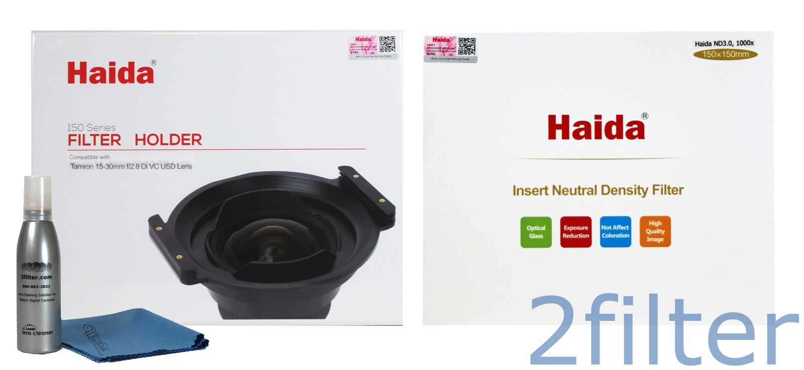 Haida 150mm 10-Stop Kit for Tamron 15-30mm - Includes Haida 150mm Holder for Tamron 15-30mm and Haida 150x150mm ND 3.0 10-Stop Filter with 2filter cleaning kit! by Haida