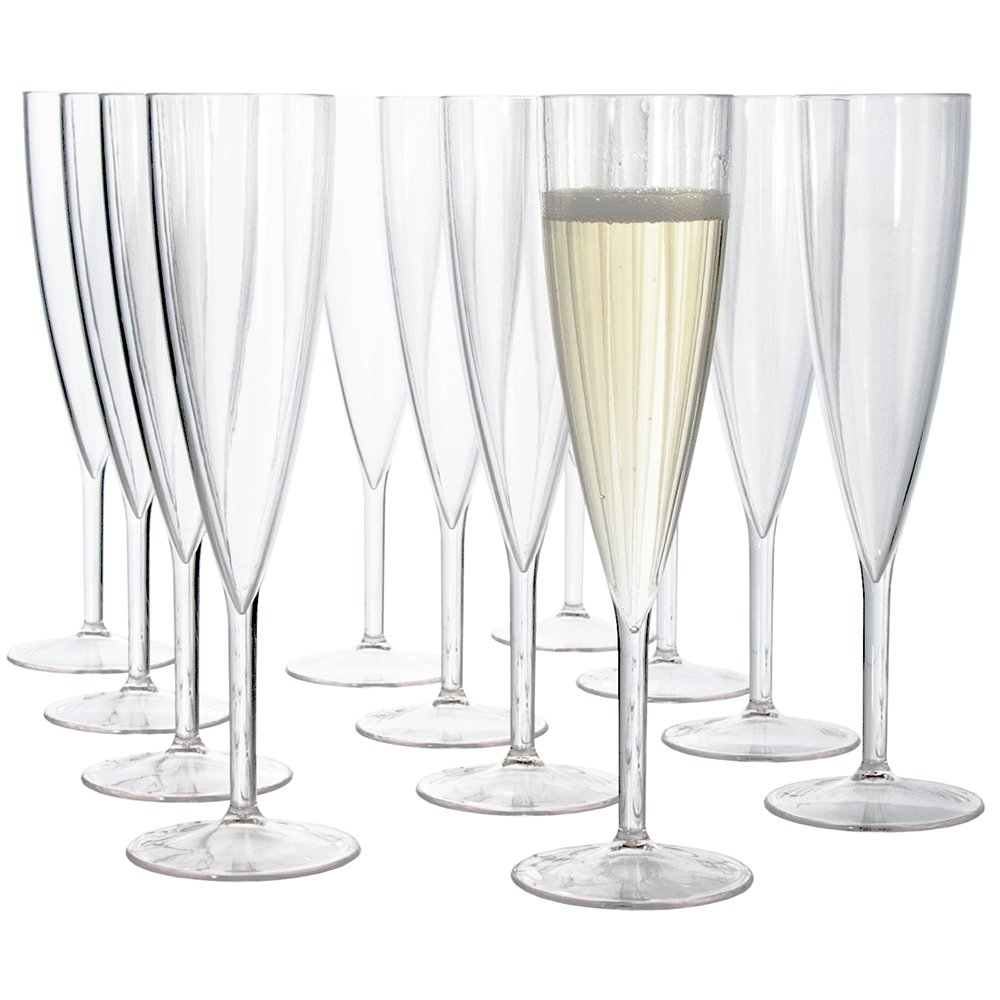 Plastic 5-ounce One Piece Champagne Flute | set of 12 Clear by US Acrylic