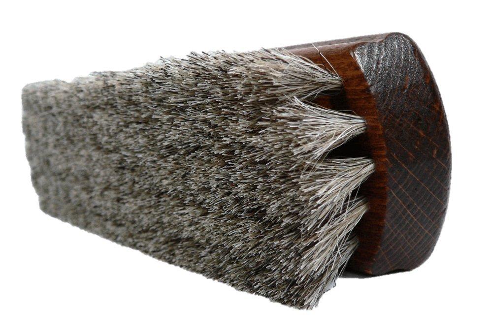 Valentino Garemi Classic Shoe Shine Brush|Leather Footwear Polish Horse Hair|Made in Germany (Light Bristles)