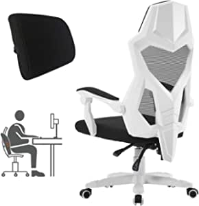 Ergonomic Office Chair High Back Adjustable Mesh Recliner Optional Footrest (White2.0(Footrest Not Included))