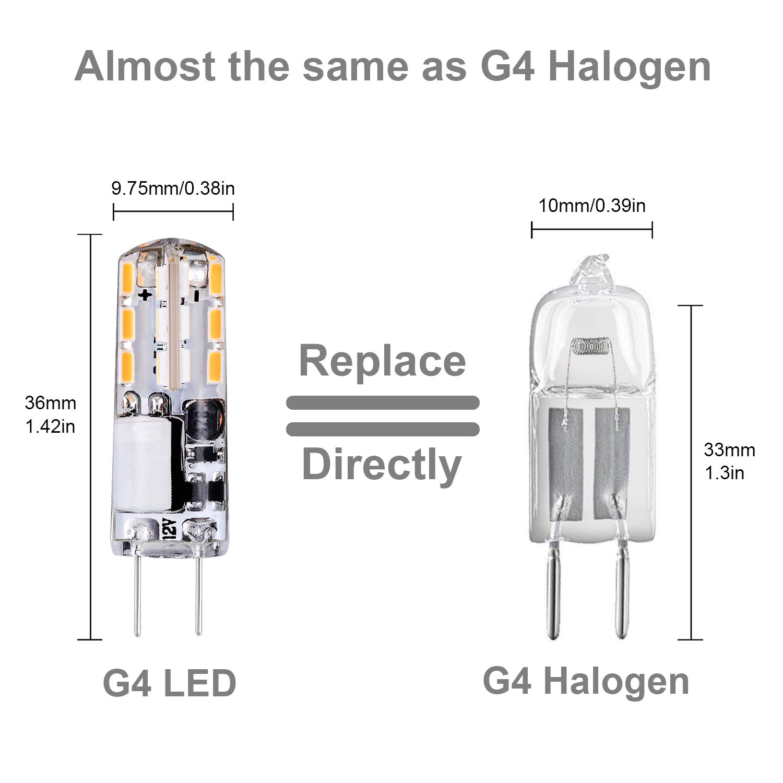 Luma G4 Bombillas LED, luz blanca cálida 2700 K, 1,5 W de repuesto 10 W 15 W bombilla halógena, 12 V AC/DC, no regulable, 120 lm, sin parpadeo, ...