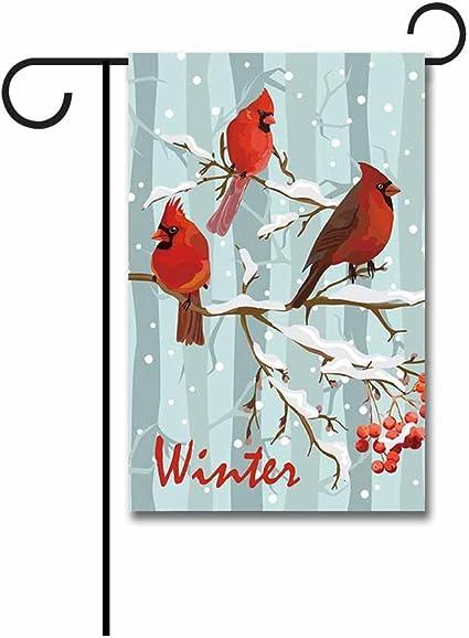 """Small House// Garden Flag 12.5/"""" x 18"""" Birds Winter. Welcome Wreath"""