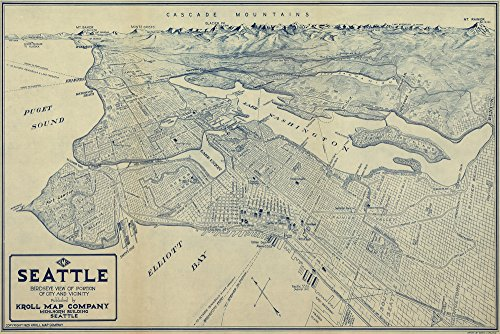 (Seattle, Washington - (1925) - Panoramic Map (24x36 Giclee Gallery Print, Wall Decor Travel Poster))