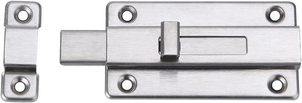 Cierre de seguridad para puerta corredera de acero inoxidable con cerradura para puerta de baño, inodoro, ventana, muebles, puerta de mascota (4
