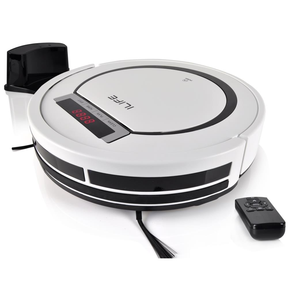 Automatic Programmable Robot Vacuum Cleaner - Scheduled Activation & Charge Dock - Robotic Auto Home Cleaning for Clean Carpet Hardwood Floor, HEPA Pet Hair & Allergies Friendly - PureClean PUCRC90