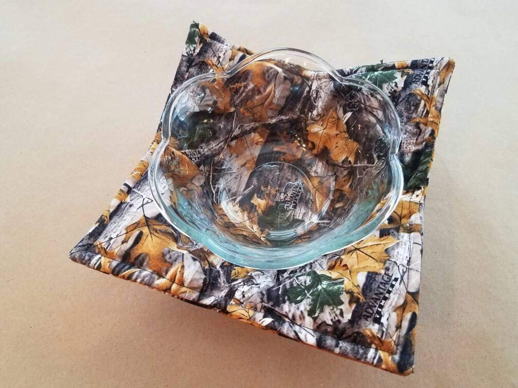 Camoflage Microwave Bowl Cozy, Reversible Microwave Potholder, AP Camo Bowl Holder, Timber Camo, Hunter, Hunt Lodge, Man Cave, Country Cabin, Real Tree Camo, Hunting Cabin Linens