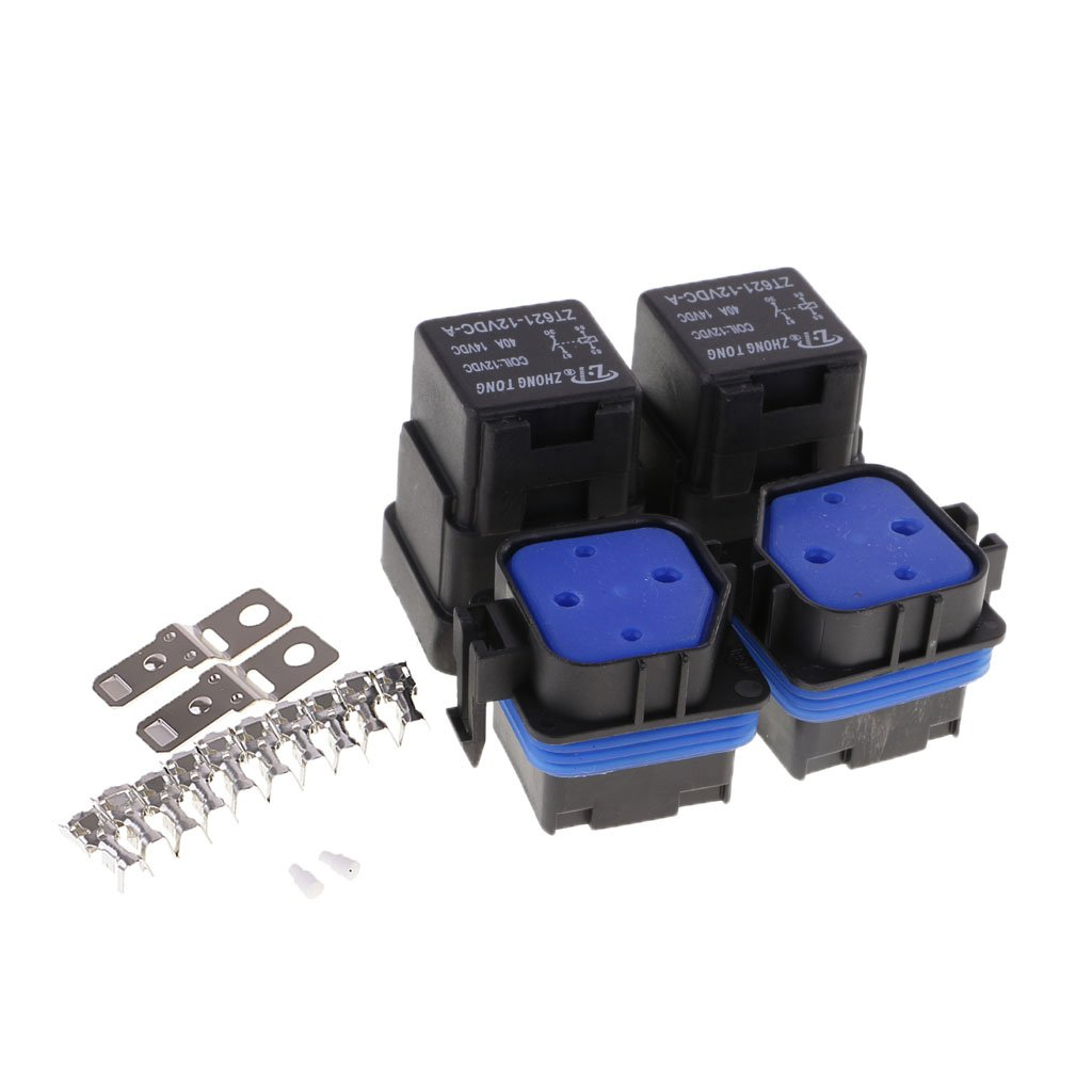 Sharplace 2X Set 4 Pin Relais 12V 40A + Support É lectronique pour Voiture