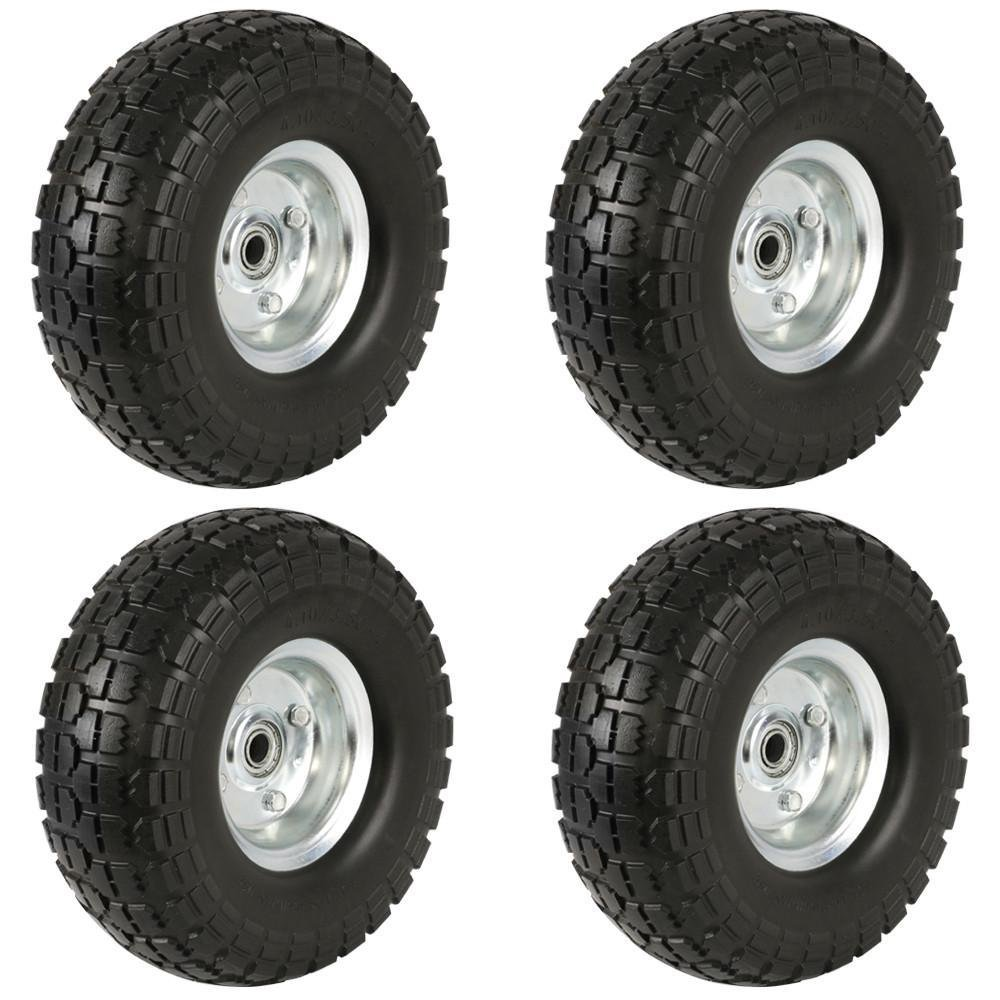 Yaheetech Solid Wheelbarrow Tires Sack Truck Cart Wheel 5/8-inch Bearings for Lawn/Garden/Beach/Trolley/Wagon 4 Pack 10-inch by Yaheetech