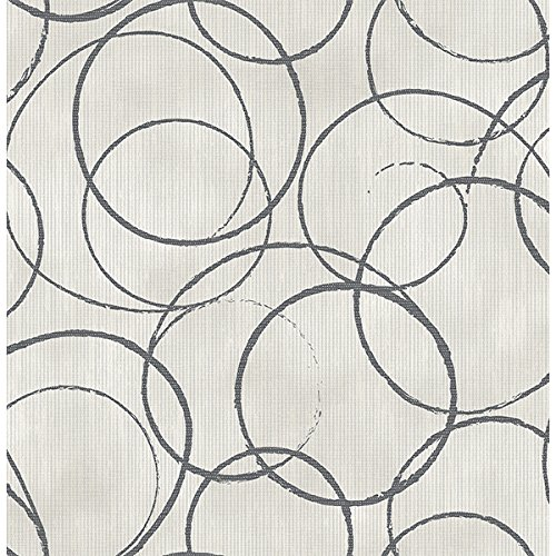 Wallpaper Designer Modern Large Charcoal Circles on Gray Strpied Faux