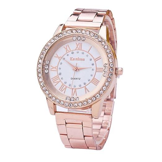 Covermason Unisexo Diamante de imitación Inoxidable Acero correa Reloj Oro rosa: Covermason: Amazon.es: Relojes