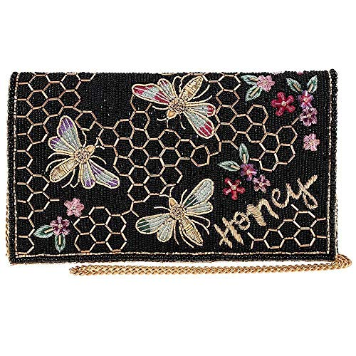 Mary Frances Honey Bee Beaded Crossbody Clutch Handbag, Black