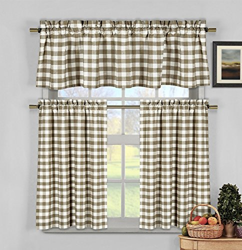 Home Maison Kingston Plaid Gingham Checkered Cotton Blend Kitchen 3 Piece Window Curtain Tier & Valance Set, 2 Tiers 29 x 36 & One Valance 58 x 15, Taupe