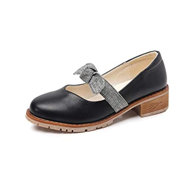 Zapatos de Mocasines de Las Mujeres del Arco Zapatos de la Universidad de Moda de tacón Medio Retro Otoño: Amazon.es: Zapatos y complementos