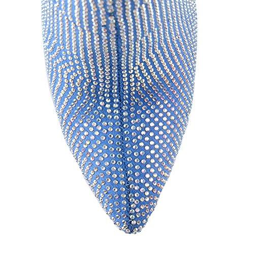 High Spitze Damen Stiletto Stiefelette Blau mit Onlymaker Besetzt Heel Strasssteinen HtFx5xqw