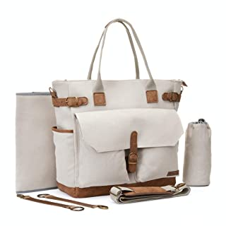 Baby Diaper Bag Large Multi-Function Canvas Diaper Bag, Shoulder Crossbody Travel Tote Bag for Baby Care with Changing Pad, Stroller Straps and Bottle Holder(Beige)