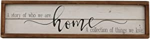 Parisloft A Story of Who We are Home Wood Framed Wall Decor Sign,Farmhouse Plaque,23.6 x 1.2 x 6 Inches