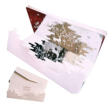 Amazon.com: Tarjeta de regalo 3D con espejo plateado, hecha ...