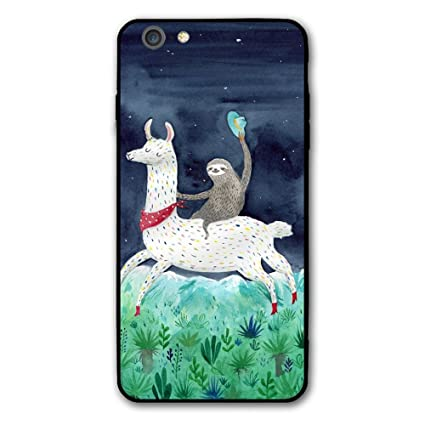 new concept 30884 c8b0b Happy Index Watercolor Sloth Riding Llama iPhone 6s Plus / 6 Plus Case Soft  TPU Shell Shock-Absorption Bumper Anti-Scratch Case Enhanced Grip ...