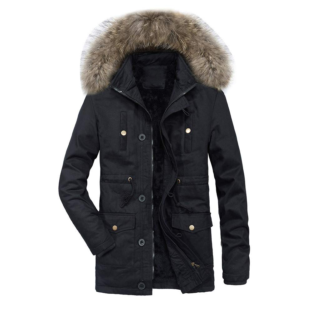 Allywit Mens Winter Thicken Coat Faux Fur Lined Quilted Jacket Removable Fur Hood
