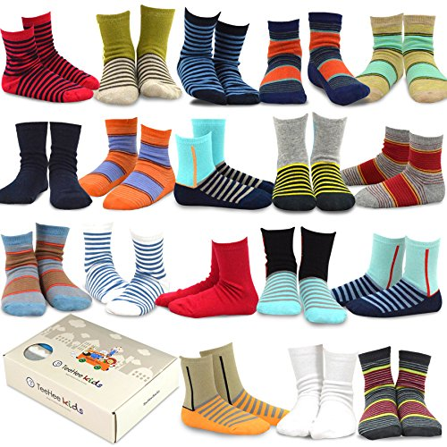 TeeHee Kids Boys Fashion Cotton Crew 18 Pair Pack Gift Box (3-5Y, Basic Stripe)